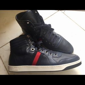 c1c05625d1d Gucci Shoes - Men Gucci Sneaker Hightop Navy Blue Leather Shoes